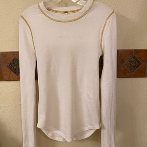 Free people top! Long sleeves with zipper decal